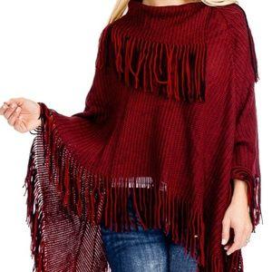 Sweaters - BURGUNDY KNIT PONCHO